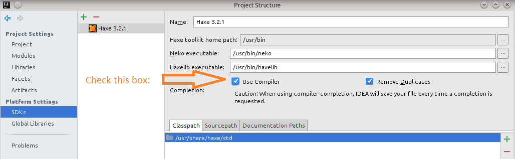 Compiler Completions Check Box